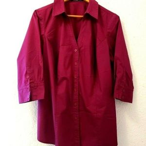 Eloquii Womens Blouse 16W Burgundy Shirt Button Fr